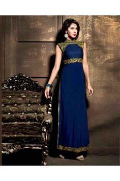 Blue Long dress Christian Dior, Vestido Anarkali, Indian Dresses, Indian Outfits, Moda Indiana, Lehenga, Sarees, Salwar Kameez Online Shopping, Silk Suit