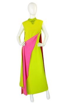 1960s Beaded Chartreuse & Pink Gown | From a collection of rare vintage evening dresses at http://www.1stdibs.com/fashion/clothing/evening-dresses/