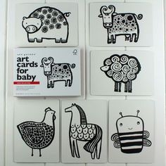 Black And White Baby Flash Cards Farm Animals