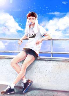 """ℰt toi Stanislas, aimes-tu la Mer ? Girls Generation, Exo Art, Exo Fan Art, Poses, Anime Guys, Exo Anime, Fan Art"