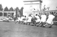 The tug of war actually has a real shot at coming back into the modern Olympic program, considering that it was contested in the Ancient Olympics. It was an Olympic sport during the 1900, 1904, 1908, 1912 and 1920 Games, during which time the British won the most medals, including the 1908 Games where the Gold medal was won by the London police force.