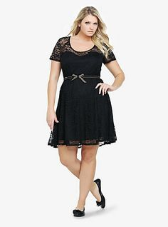 Illusion Yoke Belted Lace Dress | Torrid- I know its black and I ALWAYS love black but this is a spring black with really delicate lace :) Ugh love it