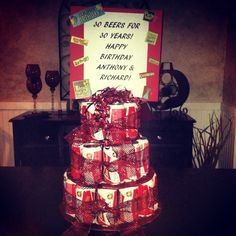 Made this beer tower cake for my boyfriend & his twin brothers birthday! Great idea from Pinterest. #beer #cake #30th