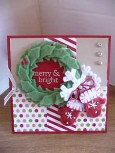 """This is a gift card holder card.  It measures 4.25"""" square.  The felt embellishments are from SU! a couple years ago.  I made the card for the Mojo Monday challenge 317."""