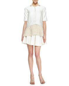 Short-Sleeve Jacket with Faux Pearl Embroidery & Drop-Waist Flounce Skirt by Lela Rose at Neiman Marcus.