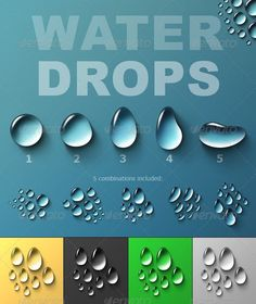 Water Drops #transparent #water • Available here → http://graphicriver.net/item/water-drops/127387?s_rank=1358&ref=pxcr