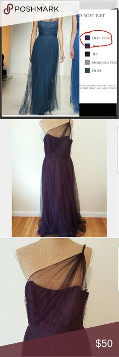 Alfred Angelo Plum Single Shoulder Gown Alfred angelo 8615L in deep plum.  Sheer single shoulder, floor length.  Modern vintage bridesmaid dress.   Soft layers of draped net.  Scooped neckline. Excellent condition.  Tag says size 12.  Known to fit small..see measurements below (coming soon) Alfred Angelo Dresses Wedding