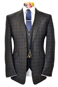 The Ashmore Black Suit with Sapphire Blue Windowpane Check