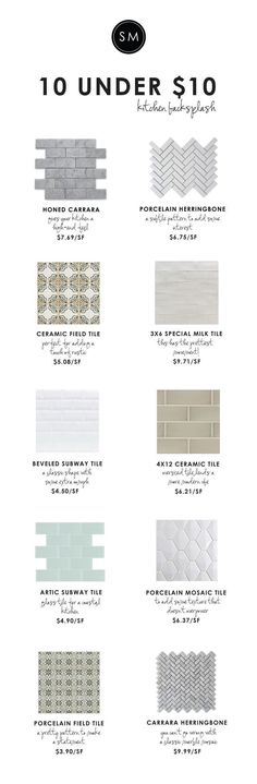 10 Under $10: Backsplash Tile | STUDIO MCGEE | Like the one 2nd down on the right