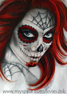 Diamond Painting Woman with Red Hair and Skull Pattern Paint with Diamonds Art Crystal Craft Decor Sugar Skull Mädchen, Sugar Skull Makeup, Sugar Skull Tattoos, Day Of The Dead Girl, Day Of The Dead Skull, Maquillage Halloween, Halloween Makeup, Halloween Stuff, Halloween Costumes