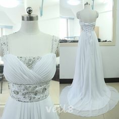 White Chiffon Beading Sequins Bridesmaid Dress A-line Chiffon Bridesmaid gown Cheap Prom Party Gown