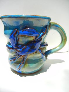 Crab Mug from local Charleston, South Carolina artist Teri Whitner. Available in your choice of three colors