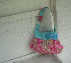 Hot Pink & Aqua Paisley Laminated Cotton Slouch--ON SALE. $59.00, via Etsy.