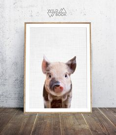 Piggy photo Pig Print Nursery Animals Print Nursery Decor