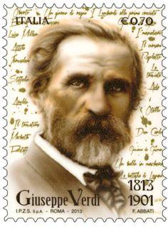 "Francobollo commemorativo di ""Giuseppe Verdi"", nel bicentenario della nascita. Stamp celebrating Verdi birthday!"