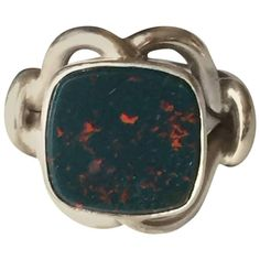 Georg Jensen Sterling Silver Ring No. 27A with Bloodstone | From a unique collection of vintage more rings at https://www.1stdibs.com/jewelry/rings/more-rings/