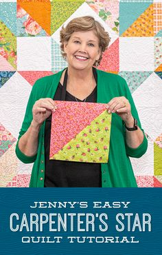 The Carpenter's Star has never been easier thanks to Jenny Doan's simplified version of this classic which uses half-squ Layer Cake Quilt Patterns, Layer Cake Quilts, Patchwork Quilt Patterns, Beginner Quilt Patterns, Quilt Block Patterns, Quilting Tutorials, Quilting Designs, Triangle Quilt Tutorials, Quilting 101