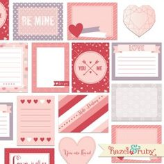 Valentine Love 3x4 Pocket Cards - FREE Printables: This download includes: -10 individual 3x4 pocket...(Visit Hazel And Ruby for more details)
