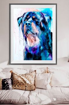 Rottweiler watercolor painting print Rottweiler art by SlaviART