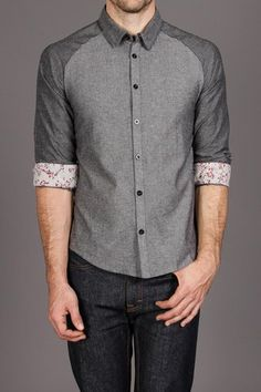 Arsnl Xavier Black Chambray Raglan Contrast Shirt