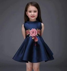 Kids Toddler Girls Active Sweet Party Going out Floral Embroidered Sleeveless Above Knee Polyester Spandex Dress Royal Blue Little Dresses, Little Girl Dresses, Cute Dresses, Girls Dresses, Flower Girl Dresses, Floral Dresses, Outfits Niños, Kids Outfits, Fall Outfits
