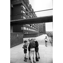 Children having a discussion on the Pepys Estate, Deptford, London