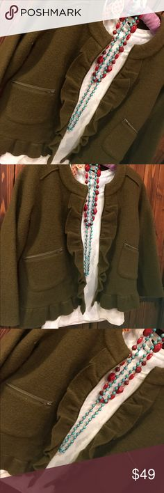 Loft Jacket Unique olive green crop jacket from LOFT.  Great details make it fun and interesting.   Never been worn and in fabulous condition. LOFT Jackets & Coats