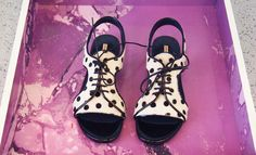 LOOK 1 - Opening Ceremony Heidi Polka Dot Lace Up Flat Sandals $410