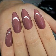 REPOST - - - - Rosewood on long Almond Nails - - - - Picture and Nail Design by posh_nails_sara her for more gorgeous nail art designs! Long Almond Nails, Almond Acrylic Nails, Fall Almond Nails, Winter Acrylic Nails, Almond Shape Nails, Acrylic Nails For Summer Almond, Natural Almond Nails, Cute Almond Nails, Almond Nail Art