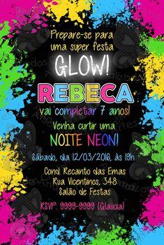 Convite Festa Neon Roller Skating Party, Skate Party, Neon Party, I Party, Party Ideas, 15th Birthday, Happy Birthday, Birthday Parties, Its My Bday
