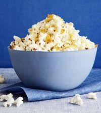 Super savory popcorn. Garlic, olive oil, parmesan cheese, black pepper. Sounds yummy!
