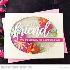 You can now purchase the amazing Stitched Blooms April Card Kit at the MFT Boutique ! For my card today, I tried s. Card Making Tutorials, Card Making Techniques, Making Ideas, Card Kit, I Card, Mixed Media Cards, Miss You Cards, Mft Stamps, Friendship Cards