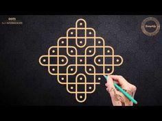 Easy and simple Sikku kolam with 5x1 dots   Simple Melika Muggulu with 5 dots   Kambi Kolam   R032 - YouTube
