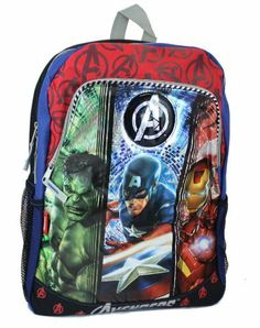 """Marvel Avengers 16"""" Backpack Captain America Hulk Iron Man by Marvel. $19.99. Travel with Marvel's The Avengers - the Super Hero team. This large 16"""" backpack features Captain America, The Hulk, and Iron Man. There are two zipper compartments. The large compartment will hold binders, notebooks, and papers. The smaller compartment is perfect for pencils, iPad, phone, or other crime fighting things. Plus there is a mesh pocket on each side, perfect size to hold a water bottle...."""