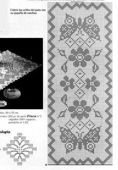 Filet Crochet Charts, Crochet Doily Patterns, Crochet Diagram, Thread Crochet, Crochet Motif, Crochet Designs, Crochet Doilies, Crochet Table Runner, Crochet Tablecloth