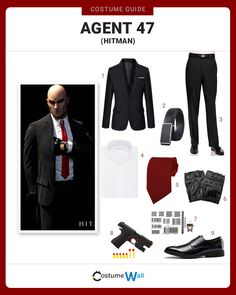 Channel your inner assassin dressed as Agent the main character appearing in the Hitman video game and movie. Got Costumes, Cosplay Costumes, Character Outfits, Main Character, Hitman Agent 47, All Black Suit, Superhero Cosplay, Daily Dress, Outfit Grid