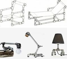 Furniture made with metal plumbing pipes