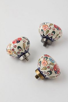 Handpainted Amaryllis Finials  #anthropologie perfect for the kitchen cabinets