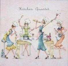 Cards » Kitchen Quartet » Kitchen Quartet - Berni Parker Designs