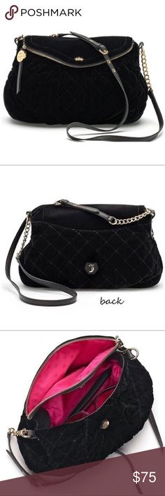 JUICY COUTURE Black Quilted Velour Crossbody Bag You will feel like a star with this Juicy Couture black quilted velour crossbody bag!  PRODUCT FEATURES Velvet texture Quilted design Flap zip top Gold-tone hardware  PRODUCT DETAILS 9.5''H x 14.5''W x 4.5''D Approx. drop down length: 23'' Medium size bag  Adjustable crossbody shoulder strap Zipper & magnetic snap closure Exterior: magnetic snap pocket Interior: pink signature fabric, zip pocket Fabric, faux leather  BUNDLE DISCOUNTS, NO…