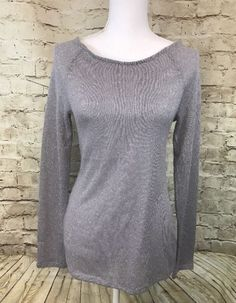 Express sweater silver glitter low v-neck women's M Medium Holiday Long Sleeve | eBay