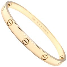 Preowned Cartier Love Yellow Gold Bangle Bracelet ($6,000) ❤ liked on Polyvore featuring jewelry, bracelets, bangles, yellow, gold hinged bangle, 18k bangle bracelet, 18k gold jewelry, cartier bangle and 18 karat gold jewelry