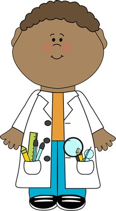 Child Scientist Clip Art Image - child scientist wearing a lab coat over jeans and a tshirt, with the pockets of the lab coat filled with sc...