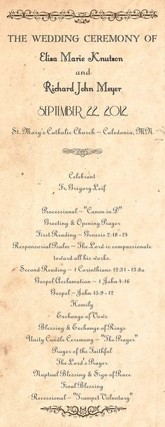 Rustic Country Wedding Program Country order of by ABandIG, $20.00
