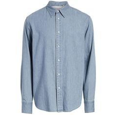 Men's Rag & Bone Fit 3 Chambray Denim Shirt ($250) ❤ liked on Polyvore featuring men's fashion, men's clothing, men's shirts, men's casual shirts, vintage indigo, mens denim chambray shirt, vintage mens shirts, mens indigo shirt, indigo nation men's casual shirt and mens denim shirt