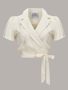 """Greta"" Wrap Blouse in Cream made by The Seamstress Of Bloomsbury, Classic 1940s Vintage Inspired Style"