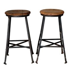 Pair of steel and oak industrial bar stools | From a unique collection of antique and modern stools at http://www.1stdibs.com/furniture/seating/stools/
