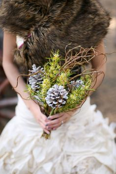 Pine Cone Bouquet..fascinating idea. @Ashley Walters Nygaard --you said you wanted pinecones!