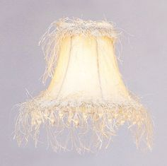 Livex Lighting Chandelier Shade Off White Silk Bell Clip Shade with Corn Silk Fringe and Beads S106