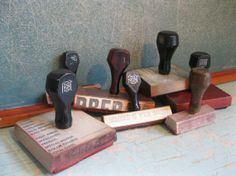 Vintage  Group of Office Stamps  Rubber Stamps by ShaneLilyRain, $15.00